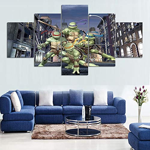 ZZXINK Ninja Turtles Cartoon Movies Posters Picture Oil Painting Abstract Children Room Wall Decor -