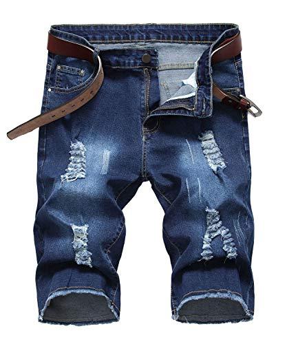 Enrica Men's Ripped Distressed Slim Fit Holes Denim Shorts