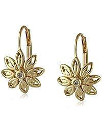 10k Yellow Gold Flower Diamond Leverback Earrings (0.01 cttw, I-J Color, I2-I3 Clarity)