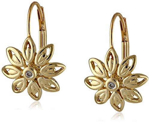 10K Yellow Gold Diamond Accent Flower Earrings