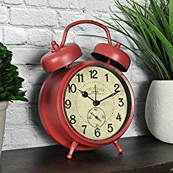 FirsTime 99657 Double Bell Tabletop Alarm Clock Aged Red