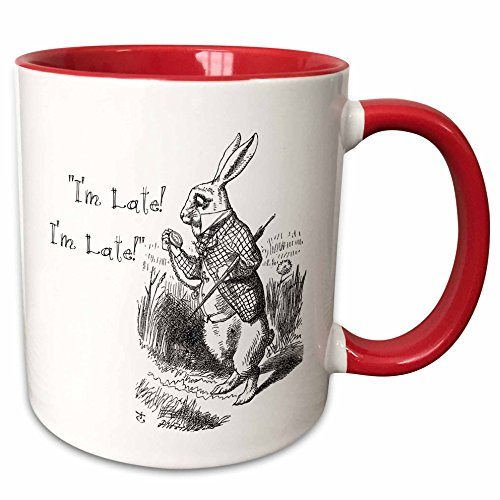 (3dRose 193791_5 Alice In Wonderland White Rabbit I'M Late - John Tenniel Illustration Mug, 11 oz, Red)