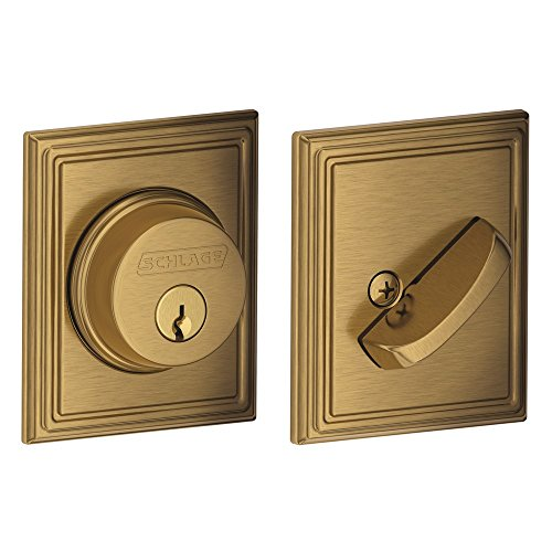 Single Cylinder Deadbolt with Addison Trim, Antique Brass (B60 N ADD (Antique Brass Door Bolt)