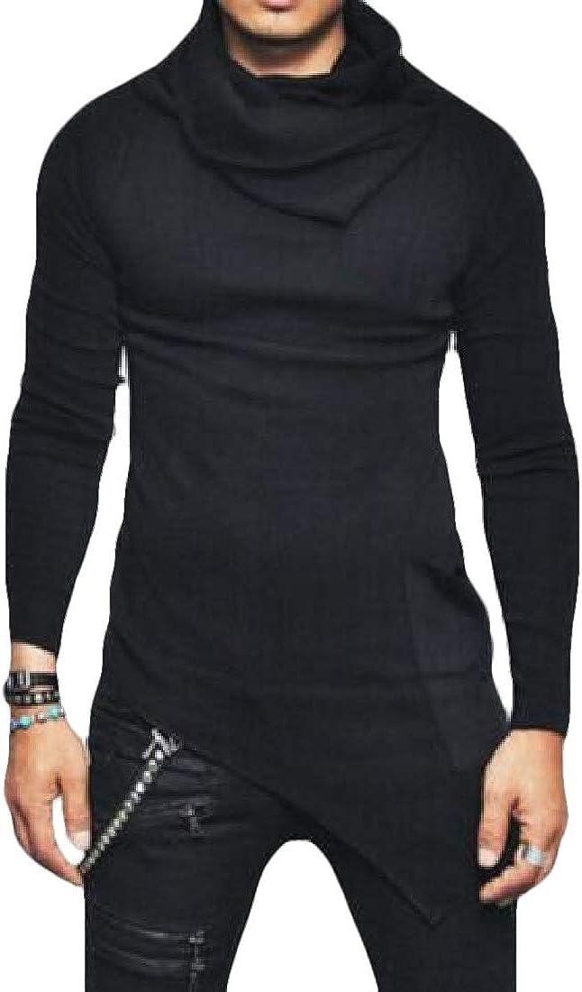 hower Mens Casual Turtleneck Curved Hem Crop Top Slim Fit Long Sleeve Pullover Sweatshirt