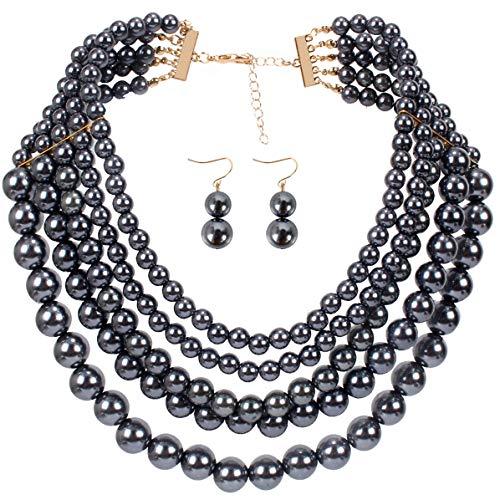 (Lanue Women Elegant Jewelry Set Multi Strand 5 Layer Pearl Bead Cluster Collar Bib Choker Necklace and Earrings Suit (Hematite))