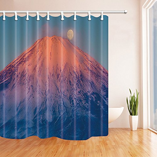 BCNEW Mount Fuji Shower Curtain Decor Japan Blue Sky Round Moon Thin Fog Snow Mountain Active Volcano Mount Fuji Lovers, 70 x 70 inches Polyester Fabric Waterproof Mildew Resistant 12pcs Hooks