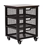 OSP Designs Garret 3 Drawer Rolling Cart with Espresso Wood Top, Black