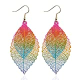 Youcoco Women Fashion Hollow Out Double Layered Leaves Pendant Hook Earrings