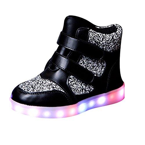 SAGUARO® Kinder Junge Mädchen LED Schuhe High Top USB Aufladen Blitzen Sportschuhe Sneakers
