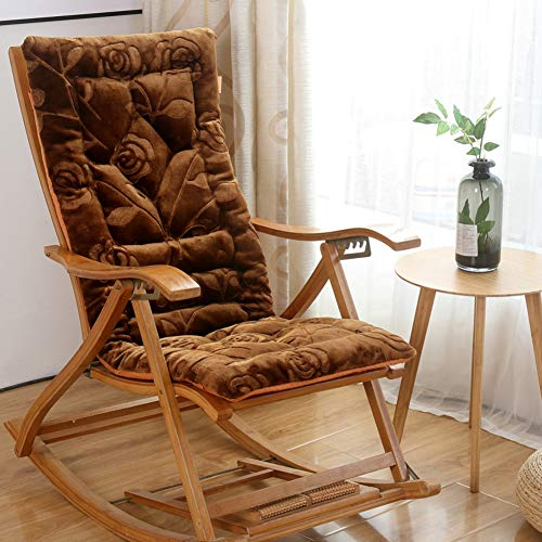 JanIST Plush Non Slip Rocking Chair Cushion, Thick Padded Foldable Chair Pads, Seat Cushion Lounge Chair Cushion with Ties Patio Garden-n 48x120cm(19x47inch)