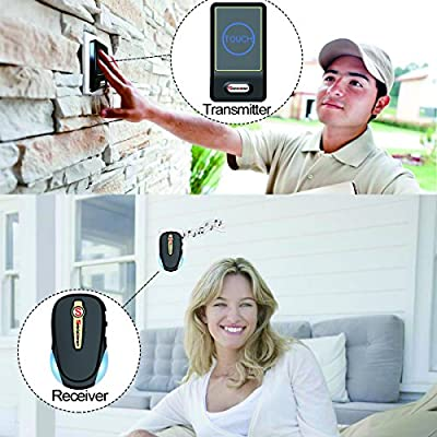 Safebao Wireless Doorbell Kit Waterproof Push Button Door Bell with 1 Transmitter and 2 Plug in Receiver for Home Office
