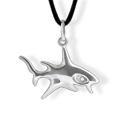 Noor joyas - collar con colgante tiburón de plata ley 925 Horjus ...