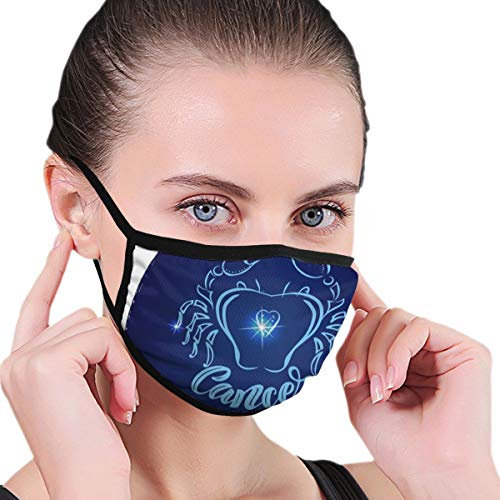 TRAVOTG Round Zodiac Sign Cancer Mouth Mask,Unisex Mask Personality Print Anti-Pollen Mask Anti-dust and Anti-infective Polyester Face Mask Face-Fitting for Men and Women
