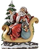 Santa in Sleigh with Presents Resin Stoneware Christmas Figurine
