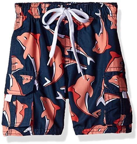 Kanu Surf Toddler Boys' Troy Quick Dry Beach Swim Trunk Dolphin Navy/Pink 4T [並行輸入品]