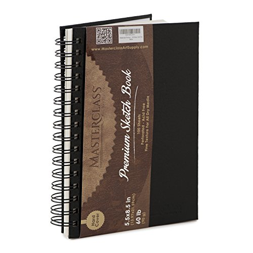 Masterclass Premium 5.5 Inch by 8 Inch Spiral Bound Hardcover Sketchbook, 100-Sheets, Acid-Free, Perfect Sketch Book For Traveling, Durable Cover And Binding Allow Your Drawing Pages To Lay Flat.