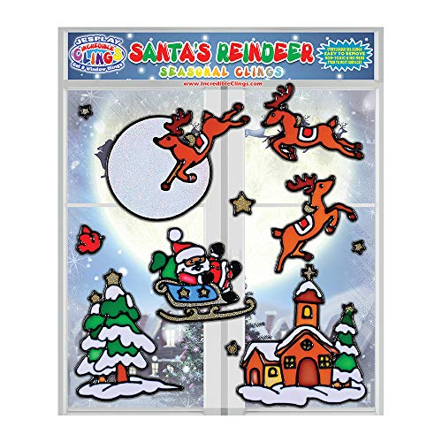 (Santa's Reindeer Christmas Seasonal Flexible Gel Clings - Reusable Glass Window Clings for Kids, Toddlers - Incredible Xmas Gel Decals of Reindeer, Snow, Santa, Home, Airplane, Classroom, Nursery )