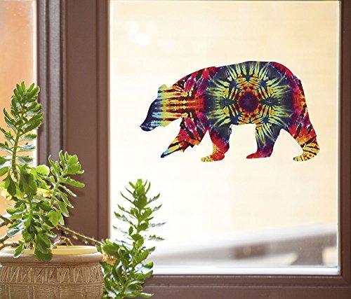 Rainbow Dancing Bears (Rainbow Tie Dye Bear - D1 - See-Through Vinyl Window Decal - Copyright Yadda-Yadda Design Co. (6