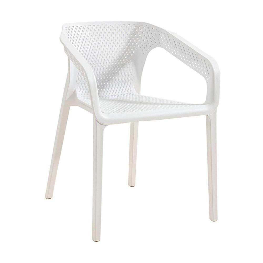 White Bar Stools, Stackable Plastic Chair, Backrest Breathable Mesh Fashion Lounge Chair Coffee Chair Dining Chair Indoor Outdoor Seat Height 45cm for Bar Kitchen Restaurant Living Room Cafe