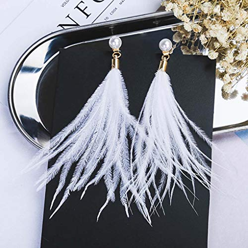 Leiothrix Bohemia Manual Ostrich Feather Tassel White Earrings for Women and Girls Apply to Wedding Party ()