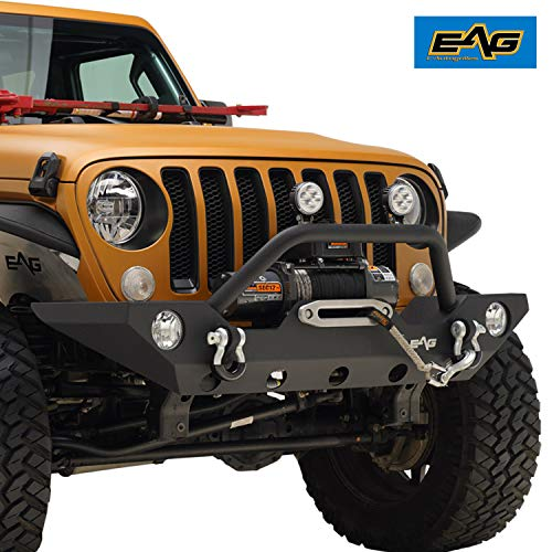EAG Front Bumper with Fog Light Hole & Winch Plate for 18-19 Jeep Wrangler JL