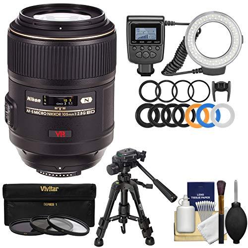 Nikon 105mm f/2.8 G VR AF-S Micro-Nikkor Lens with Ring Light + Macro Tripod + 3 Filters Kit for D3300, D3400, D5500, D5600, D7100, D7200, D610, D750, D810, D5 Camera