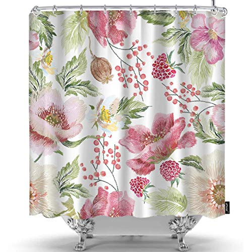 Raspberry Home Decor Fabric - oFloral Flower Shower Curtain Poppies Raspberries Plant Folk Flowers Decorative Fabric Shower Curtains Liner with Hooks Home Decor for Bathroom Shower Bathtub 72X84 Inch
