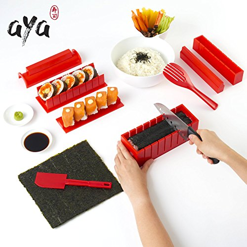 Sushi Making Kit - Original AYA Sushi Maker Deluxe Exclusive Online Video Tutorials Complete with Sushi Knife 11 Piece DIY Sushi Set - Easy and Fun - Sushi Rolls - - Online Original