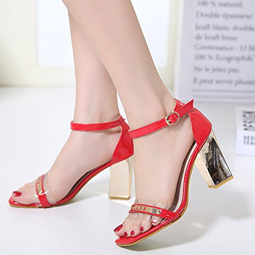 Pink Sandals Heel Toe Women's Beauty Chunky Strap Square D2C Buckle Ankle PgfvxpwRq