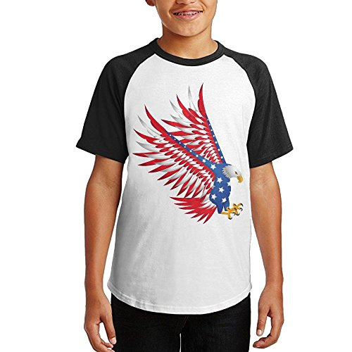 American Flag Eagle Unisex Youth Teenager Raglan Tshirt Black