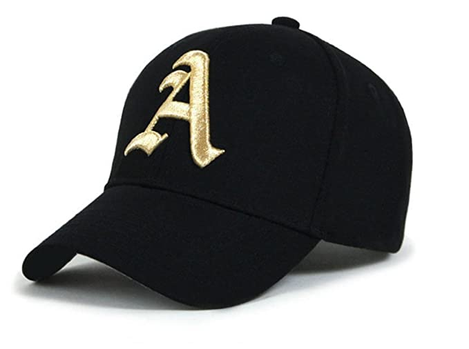 Amazon.com : 4sold® s Cap Hat Boy Girl Adjustable Baseball Nave School Caps Sport Letter A One Size Black A Gold : Sports & Outdoors