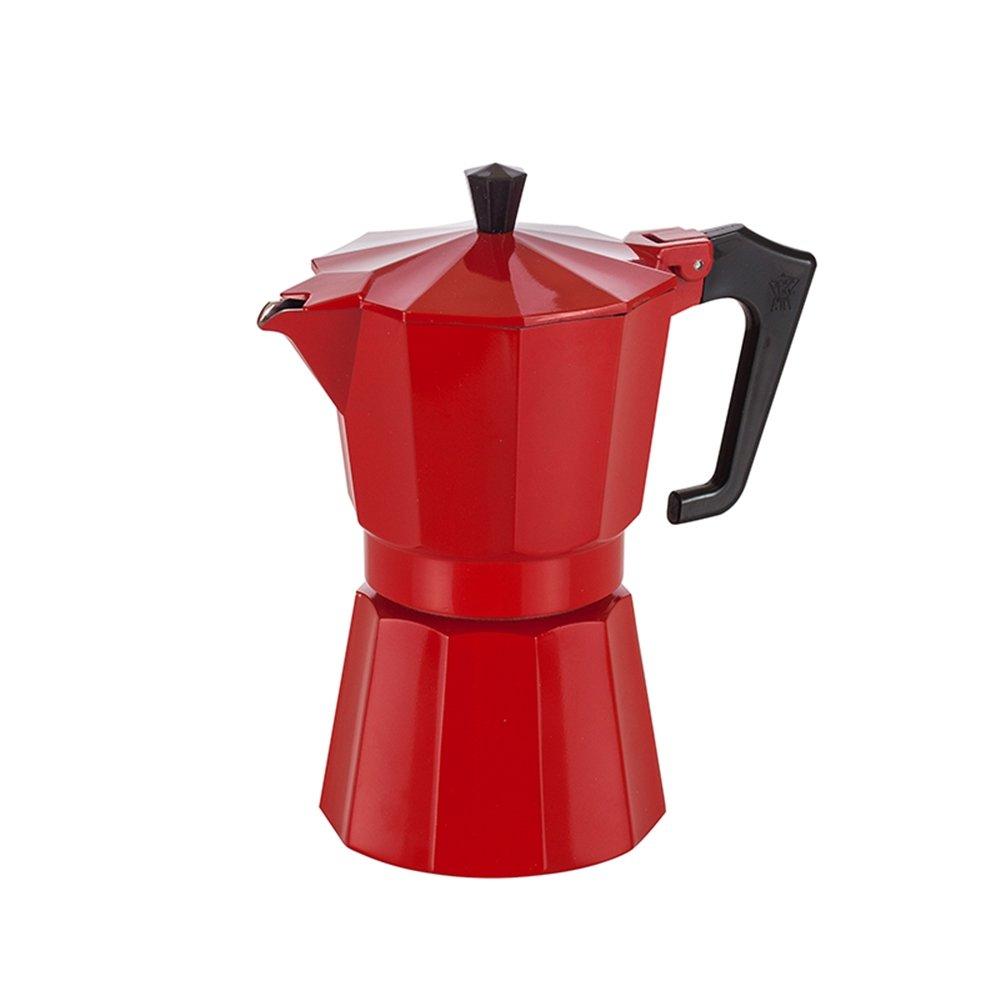 Pezzetti Stove Top Red Finish Aluminium Espresso Coffee Maker/Moka Pot - 6 Cup