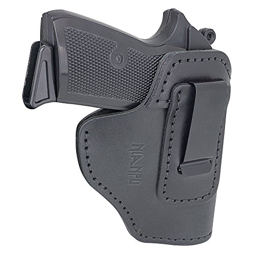 NIANPU Concealed Carry IWB Holster Leather Right Hand Draw Waistband Pistol Holster Fits GLOCK 17 19 22 23 32 33/S&W M&P 9, 40, 45/S&W M&P Shield and Other Compct Handguns