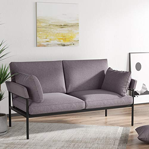 Tribesigns Grey Loveseat, 2 Seat Outdoor Patio Sofa for Small Space, Linen Fabric Upholstered Modern Couch with Black Metal Frame for Living Room & Balcony