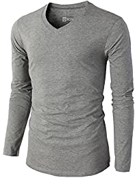 H2H Mens Casual Premium Soft Cotton Long Sleeve V-neck T-Shirts