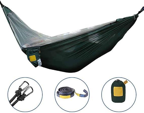 double camping hammock,funda hamaca jardin,hamaca para acampar con mosquitera - 2 personas casual, portátil, de alta resistencia, hamaca para viajes al aire libre, para acampar, senderismo,Green: Amazon.es: Hogar