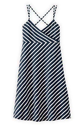 Fair Indigo Fair Trade Organic Bias Cut Dress (XL, Dark Ocean/Vanilla Stripe)