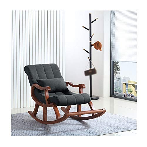 Pig Middle I Nordic Rocking Chair, Solid Wood Relax Comfortable Old Man Balcony Lounge Chair (Color : Dark Gray)