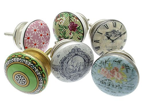 Mango Tree Mixed Set of 6 x Vintage Floral Patterns with French Clock Cupboard Knobs 1.5