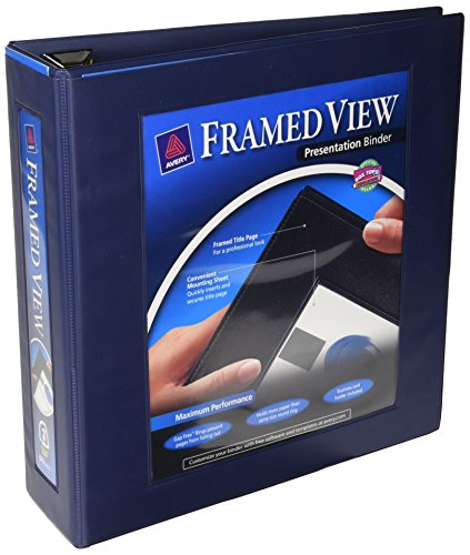Avery Framed View Binders with One Touch 3-Inch EZD Ring, Holds 8.5 x 11 Inches Paper, Navy Blue (68038)