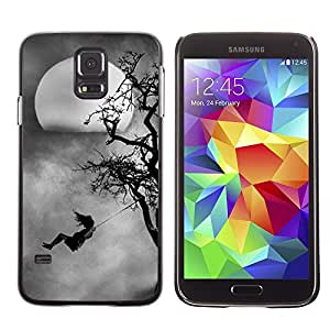 LECELL--Funda protectora / Cubierta / Piel For Samsung Galaxy S5 SM-G900 -- Kid Swinging Tree Moon Spooky --