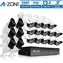 A-ZONE 32CH AHD DVR 1080P Security Camera System W/ 14x HD 1080P Fixed Camera Home Surveillance System & 6x HD 1080P Varifocal Camera IR 2.8-12mm Lens Camera,Without Hard Drive