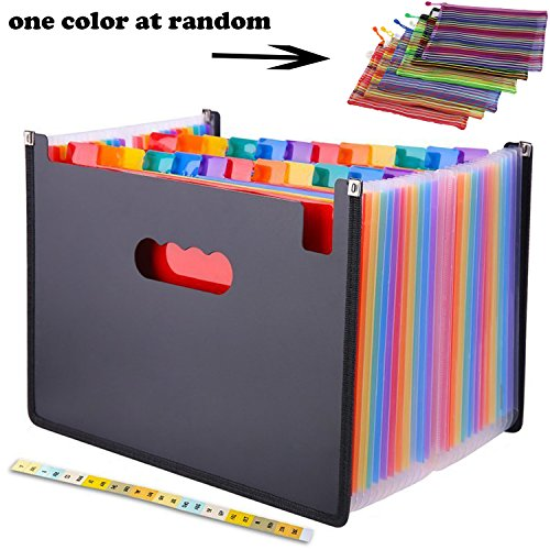 24 Pocket Expanding File Folder with Cloth Edge Wrap, Letter Size Organizer Expandable Accordion A4 Files Bag by moyeeka