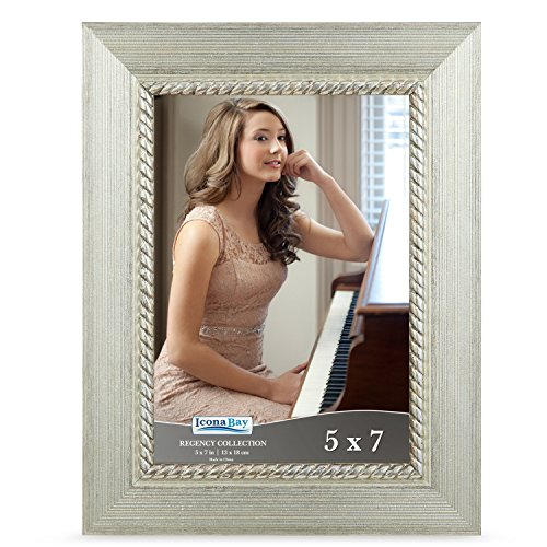 Icona Bay 5x7 Picture Frame (1 Pack, Silver), Silver Photo Frame 5 x 7, Wall Mount or Table Top, Set of 1 Regency Collection
