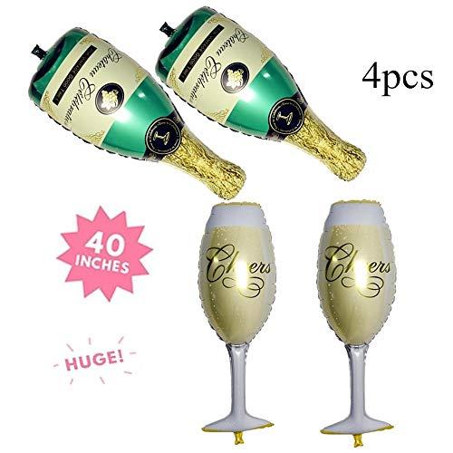 (Champagne Bottle and Wine Goblet Glass Foil Balloons for Birthday Bridal Shower Bachelorette Festival Celebrations Party Supplies SG043)