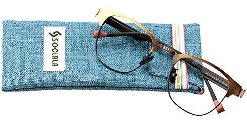 SOOLALA Retro Design Clubmaster Clear Lens Eyeglass Frame Quality Reading Glasses, +2.5, - Eyeglasses Cheap Clubmaster