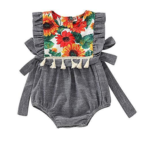 713b0af7e2444 ZooArts ベビー服 ロンパース 女の子 春夏 新生児服 向日葵柄 袖なし 欧米風 カバーオール ボディー