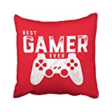 Musesh best gamer ever pillow for video games geek quote Cushions Case Throw Pillow Cover For Sofa Home Decorative Pillowslip Gift Ideas Household Pillowcase Zippered Pillow Covers 16X16Inch