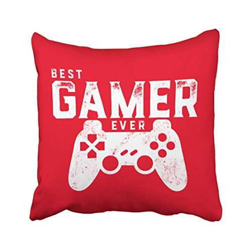 Case Video Covers Game (Musesh best gamer ever pillow for video games geek quote Cushions Case Throw Pillow Cover For Sofa Home Decorative Pillowslip Gift Ideas Household Pillowcase Zippered Pillow Covers 16X16Inch)