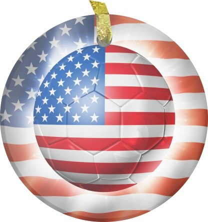 Rikki KnightTM Brazil World Cup 2014 USA United States of America Team Football Soccer Flag Bevelled Glass Ornament